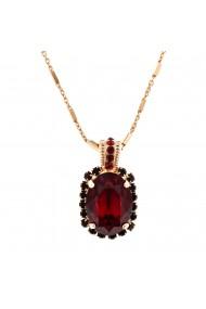 Pandantiv cu lant placat cu Aur roz de 24K cu cristale Swarovski Lady In Red 5522/5-1070RG