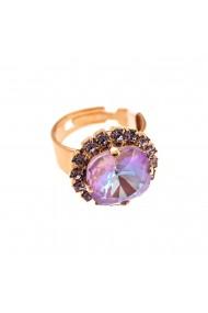 Inel placat cu Aur roz de 24K cu cristale Swarovski Lavender 7080/4-1910RG