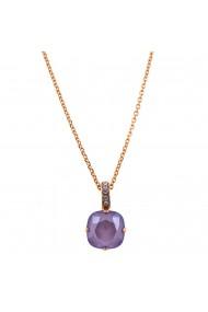 Pandantiv cu lant placat cu Aur roz de 24K cu cristale Swarovski Purple Rain 5326/2-371021RG