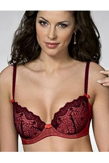 Sutien Milavitsa elegant push-up cu dantela si lurex 12111-bordo