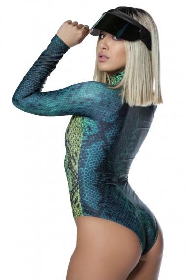 Costum de baie intreg Scuba Snake Green Motivate Store