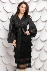 Rochie Latiffa neagra din dantela cu paiete argintiu inchis