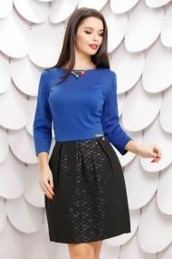 Rochie Querida cu fusta neagra si bluza albastra  accesorizata cu pietre colorate