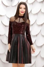 Rochie Federica cu fusta neagra din neopren cu reflexii si bluza din paiete bordo