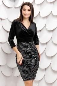 Rochie Claudia neagra din paiete cu reflexii si bluza din catifea