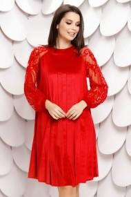 Rochie Elinora rosie din catifea plisata cu maneci din tull cu insertii de catifea