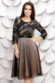 Rochie de zi midi Ejolie neagra cu jupon crem si fusta din tull plisat