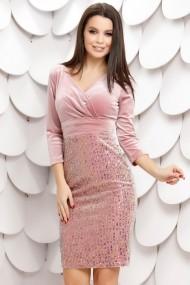 Rochie Claudia roz din paiete cu reflexii si bluza din catifea