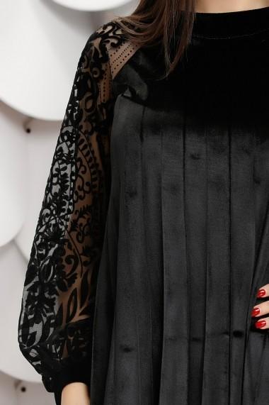 Rochie Elinora neagra din catifea plisata cu maneci din tull cu insertii de catifea