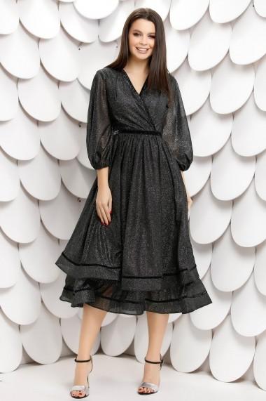 Rochie de seara midi Ejolie neagra cu sclipici argintiu