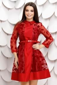 Rochie de seara scurta Ejolie rosie din tull sidefat cu buline de catifea