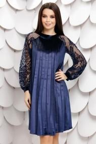 Rochie de seara Ejolie bleumarin din catifea plisata cu maneci din tull cu insertii de catifea