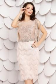 Rochie Irena roz din paiete si franjuri