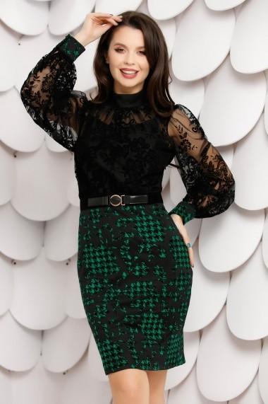 Rochie Tereza neagra din tull cu insertii de catifea si fusta verde