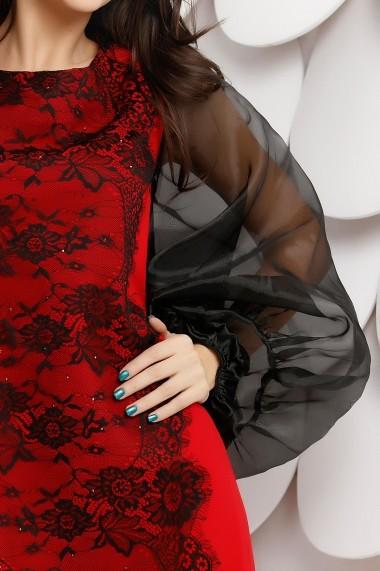 Rochie Lexie rosie cu dantela neagra aplicata si maneci bufante din organza