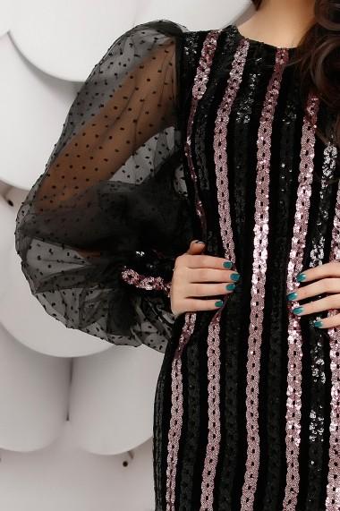 Rochie Blaire neagra din catifea cu paiete lila si maneci bufante din tull cu insertii de catifea