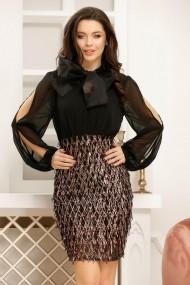 Rochie Frida neagra cu fusta din paiete aramii si funda maxi decorativa