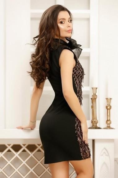 Rochie Brinda neagra cu paiete aramii si funda maxi decorativa