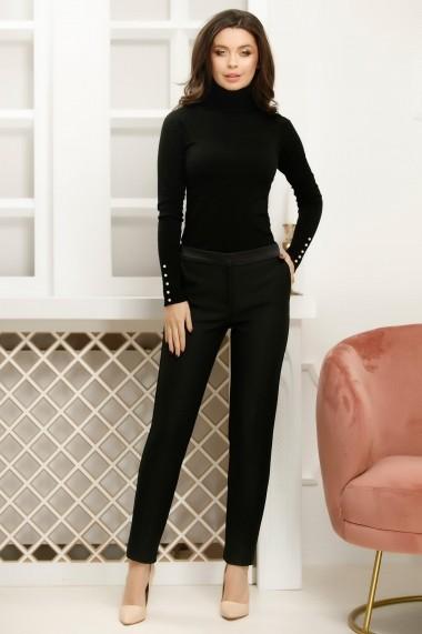 Pantaloni Carlia negri cu insertii fine argintii si cordon din satin