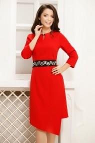 Rochie de zi midi Ejolie rosie cu aspect petrecut si cordon negru in talie