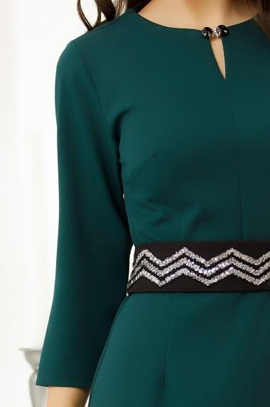 Rochie Ana verde cu aspect petrecut si cordon negru detasabil in talie decorat cu paiete