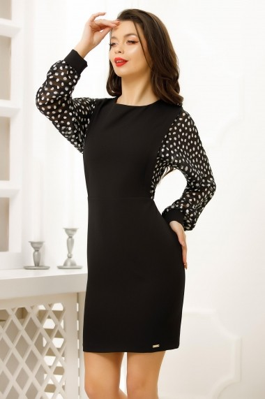 Rochie Serena neagra tip sarafan cu bluza din voal negru cu buline albe si curea cu floare rosie din satin