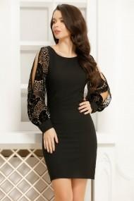 Rochie Tao neagra cu maneci despicate din voal cu detalii catifelate crem si negru