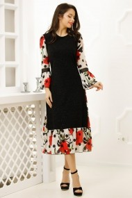 Rochie Tasha din tricot negru cu insertii lame argintii si voal imprimat cu buline negre si garoafe rosii