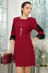 Rochie Kenzie magenta din stofa cu maneci accesorizate cu voal plisat negru si dantela