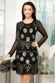 Rochie de seara scurta Ejolie neagra din tull cu paiete argintii