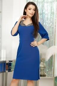 Rochie Viviana albastra din stofa cu decolteu accesorizat cu margele