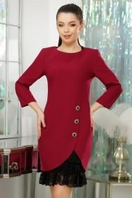Rochie Allie magenta din stofa cu volane din dantela accesorizata cu nasturi decorativi