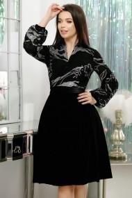 Rochie Annie neagra in clos din catifea si paiete argintii