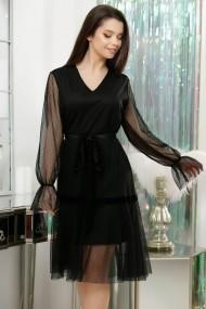 Rochie Nora neagra din dantela cu cordon din catifea