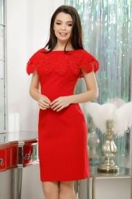 Rochie Victoria rosie din stofa cu guler din dantela macrame