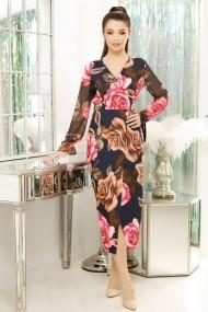 Rochie Adina bleumarin cu imprimeu floral roz