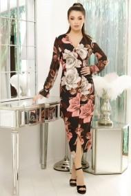 Rochie de zi Ejolie cu imprimeu floral roz pal