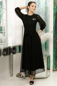 Rochie Tania neagra din tricot si dantela