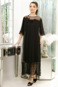 Rochie de seara lunga Ejolie neagra din tull si dantela