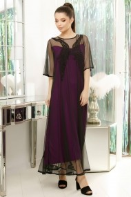 Rochie de seara lunga Ejolie mov cu tull negru brodat