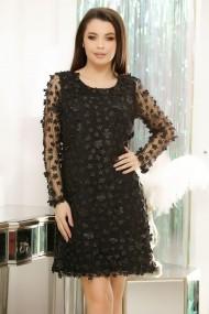 Rochie Amary neagra cu flori textile aplicate