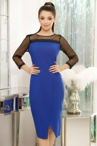 Rochie Verona albastra cu maneci negre din tull cu buline