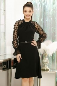 Rochie Ivonna neagra cu maneci din tull cu flori textile