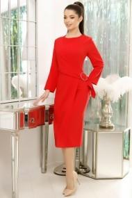 Rochie Anisia rosie cu accesoriu pe talie
