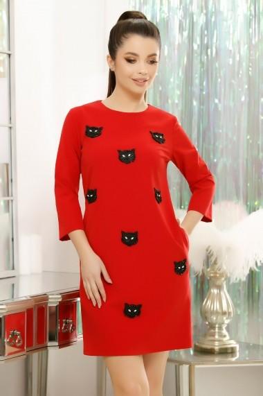 Rochie Crisa rosie cu pisici din perle si cristale