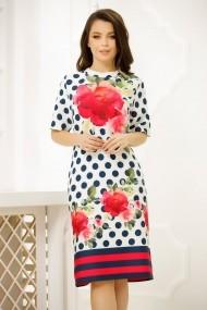 Rochie Dariana alba cu buline bleumarin si imprimeu floral