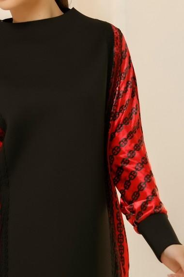 Rochie Abida neagra cu detalii din catifea rosie