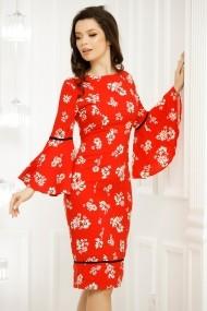 Rochie Adria portocalie cu imprimeu floral si maneci clopot