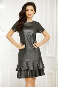 Rochie de zi midi Ejolie neagra cu insertii argintii