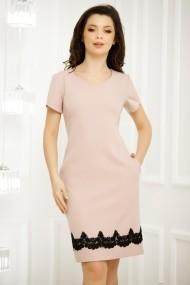 Rochie de zi Kiana roz cu maneci scurte